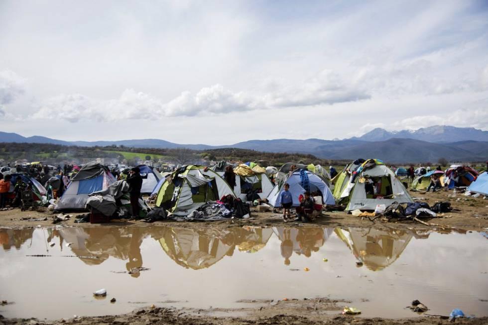 Un campamento de refugiados en la frontera griega con Macedonia el pasado 19 de mayo.