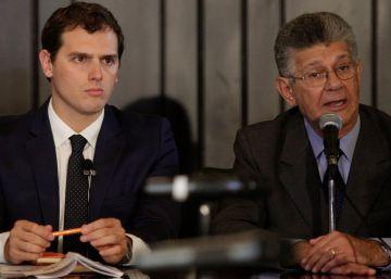 Albert Rivera, en la Asamblea venezolana, este martes.