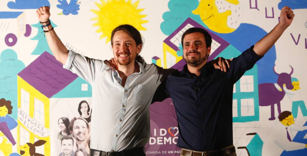 Iglesias y Garzón durante el inicio de la campaña este viernes.