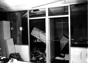 Dependencias de EL PAÍS tras la explosión de la carta-bomba que causó la muerte en 1978 del conserje Andrés Fraguas