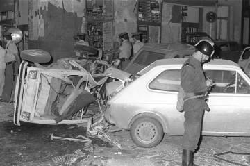 Vista general tras la explosión de una bomba en el bar El Parnasillo de Madrid en 1979