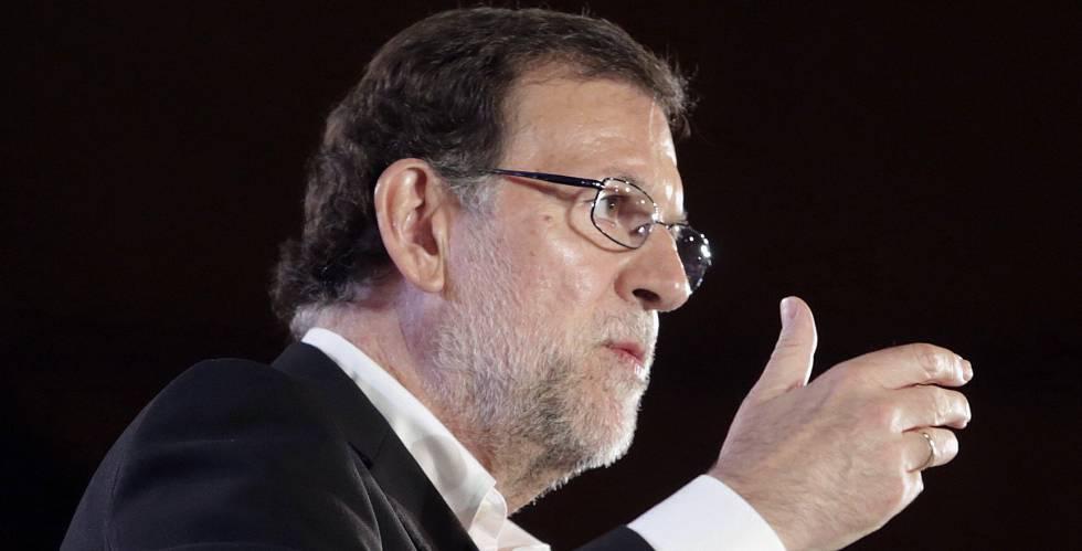 Mariano Rajoy durante un acto de campaña en Zaragoza este miércoles.