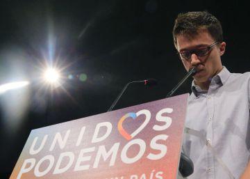 El número tres de Unidos Podemos, Íñigo Errejón, antes de comentar los resultados provisionales de las elecciones generales esta noche.