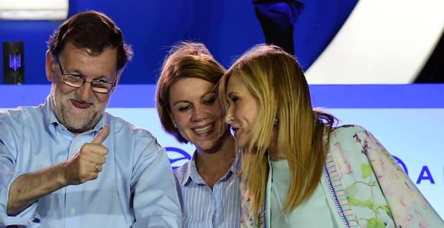 Rajoy, Cospedal y Cifuentes, este domingo.