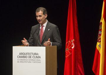 El rey durante su intervención en la inauguración del IV Congreso Internacional de la Fundación Arquitectura y Sociedad en Pamplona.