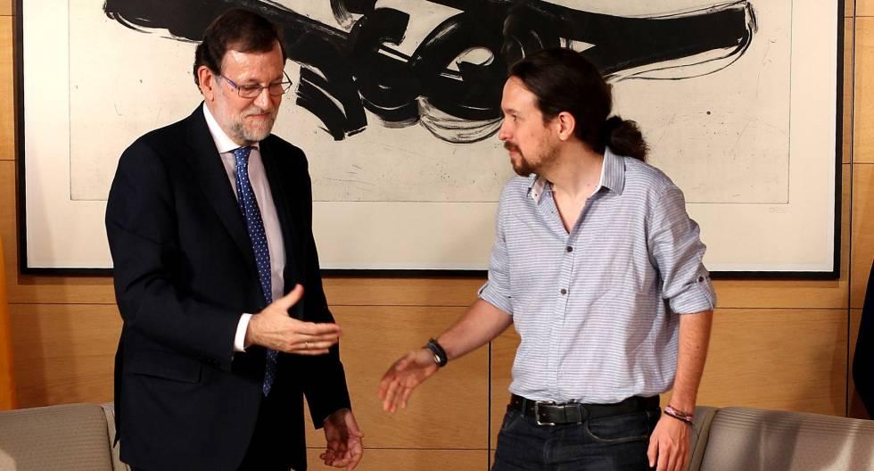 Rajoy e Iglesias, este martes, en el Congreso.