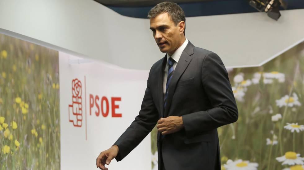 El líder del PSOE, Pedro Sánchez, este miércoles en la sede socialista.