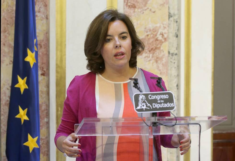 La vicepresidenta del Gobierno en funciones, Soraya Saenz de Santamaria, en el Congreso de los Diputados.