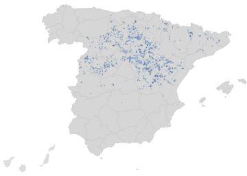 El mapa de los municipios menos habitados