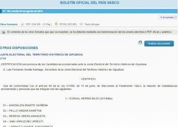 El Boletín Oficial excluye la candidatura de Otegi