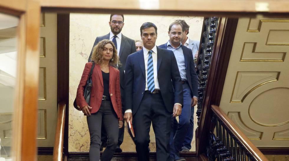 Pleno de Investidura en el Congreso de los Diputados. Pedro Sanchez y Meritxell Batet.