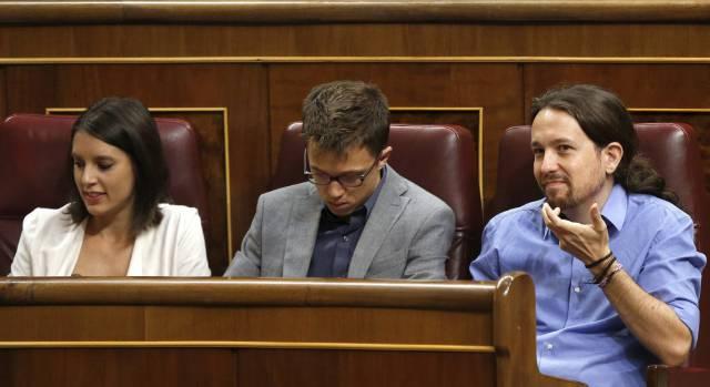 Montero, Errejón e Iglesias, este miércoles.