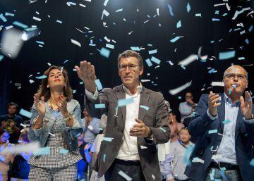 El candidato del PP a la Presidencia de la Xunta, Alberto Núñez Feijóo durante el cierre de la campaña.