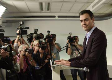 Pedro Sánchez , durante su rueda de prensa.