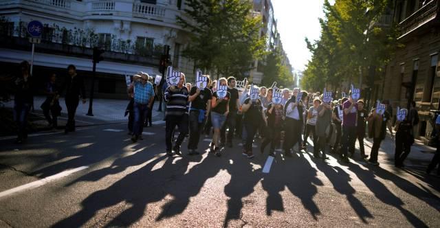 Manifestación favor de los presos de ETA en San Sebastian el pasado sábado.