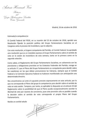 Antonio Hernando avisa a los diputados del PSOE contra la abstención mínima y la libertad de voto