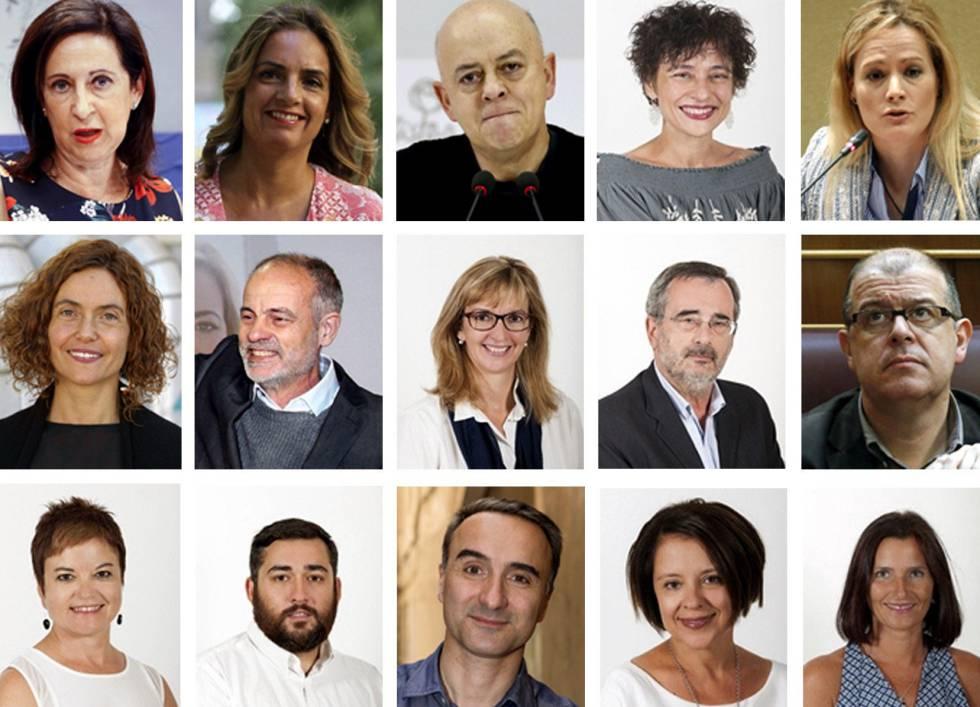 Los 15 diputados del PSOE que votaron no.