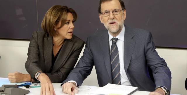 Cospedal y Rajoy, este lunes, durante la junta directiva nacional del PP.