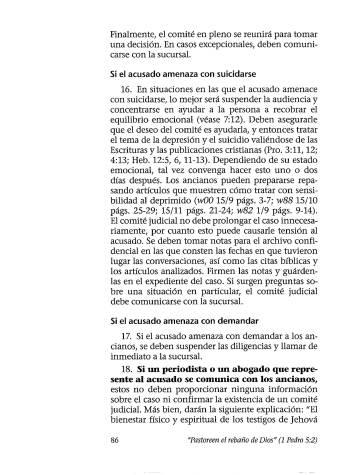 Página del libro de los Testigos de Jehová 'Pastoreen el rebaño de Dios', que sirve como jurisprudencia interna para la organziación.