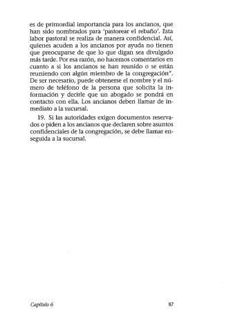 Página del libro 'Pastoreen el rebaño de Dios', que sirve como jurisprudencia interna para los Testigos de Jehová, en la que se indica qué hacer ante las autoridades.