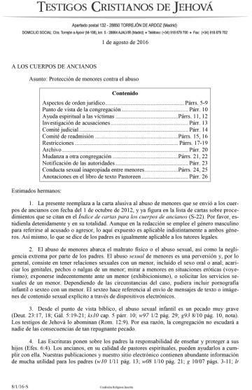 Primera página del documento interno de los Testigos de Jehová en el que se da instrucciones sobre cómo actuar ante casos de abusos a menores.