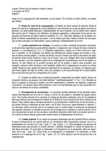 Página del documento interno de la orden en la que se detalla cómo proceder ante abusos a menores.