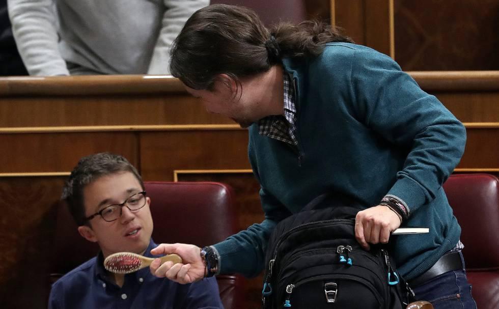 Pablo Iglesias e Íñigo Errejón, en el Congreso.