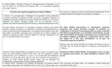 Comparación de dos textos. En negrita lo supuestamente plagiado por el rector Suárez.