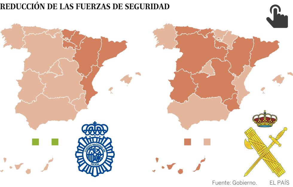La policía ha perdido un 9,9% de agentes y la Guardia Civil un 6,4% desde que gobierna Rajoy