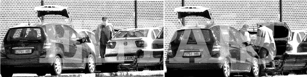 """El lugarteniente de la red traspasa tres cajas de madera al vehículo Seat Córdoba del coronel Rodolfo Sanz, 'Rudolf', en Madrid en marzo de 2015. En las cajas figuraba la inscripción """"1.000 cartuchos número 448 7,62 51 ordinario lote 95-5""""."""