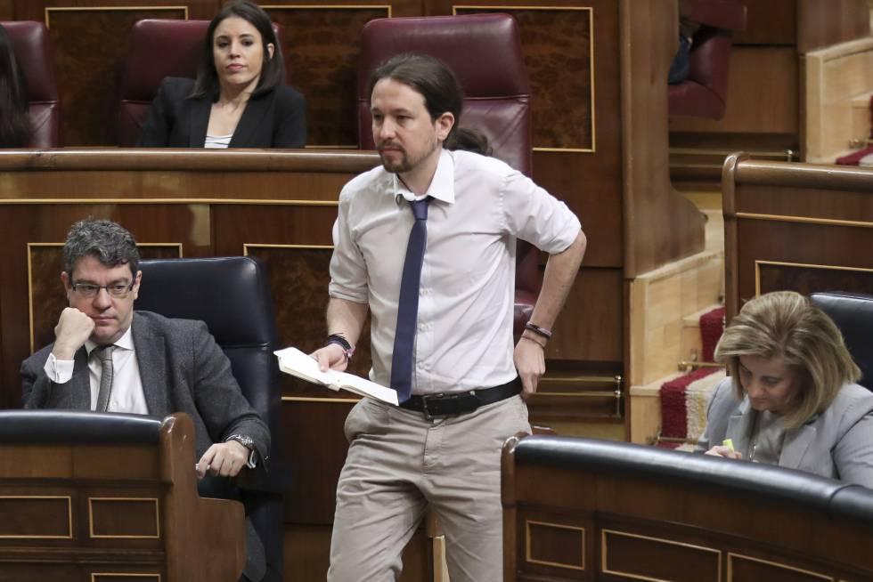 El líder de Podemos, Pablo Iglesias, en el Pleno del Congreso.