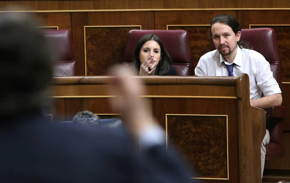 Pablo Iglesias e Irene Montero, hoy en el Congreso.