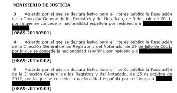 Declaraciones de lesividad del Consejo de Ministros del 30 de enero de 2015