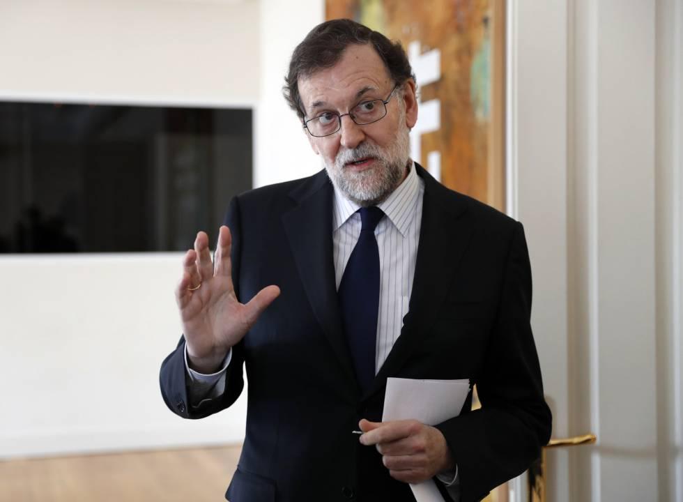 Mariano Rajoy, durante la entrevista, en La Moncloa.