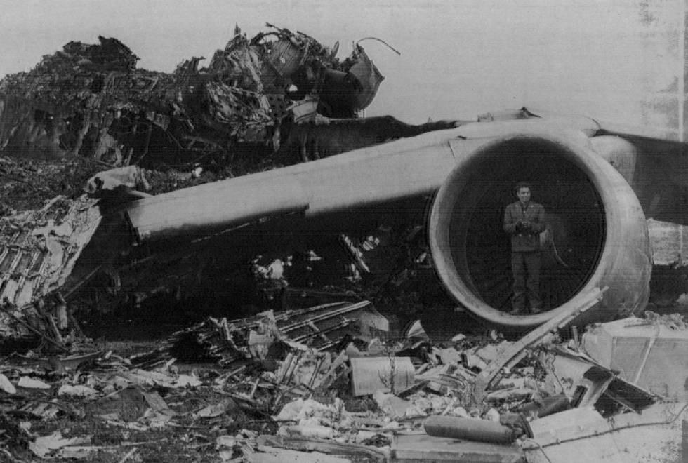 Estado en el que quedó el avión de KLM.