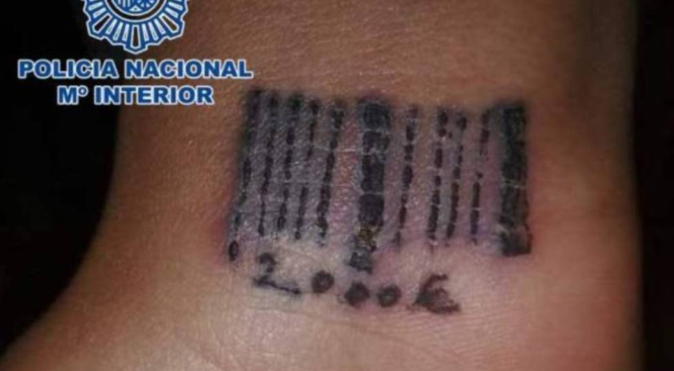 A codebar and price tattooed on a Romanian victim in 2012.