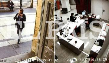 Un presunto miembro del clan saca dinero en efectivo en una sucursal bancaria de Madrid en abril de 2014