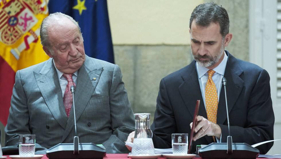Juan Carlos I y Felipe VI en el Palacio de El Pardo en la reunión de COTEC.