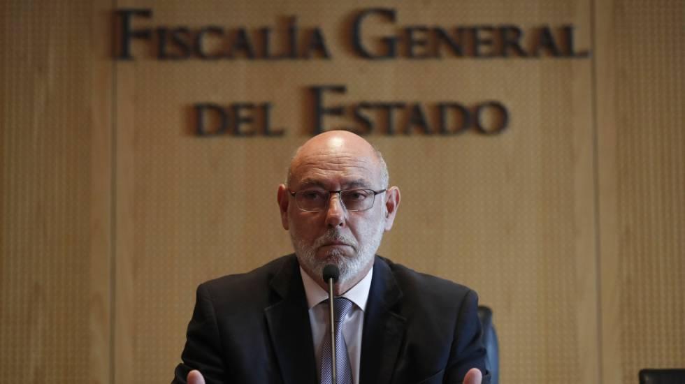 José Manuel Maza, fiscal general del Estado, este jueves anunciando la dimisión de Moix.