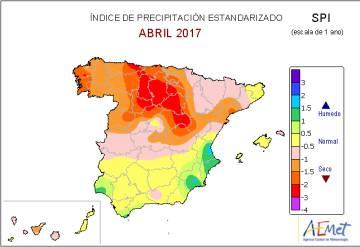 Indice de precipitación estandarizado desde hace un año donde se muestra una anomalia seca en la mayor parte del norte de la península.