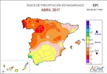 Indice de precipitación estandarizado desde hace un mes donde se muestra una anomalia seca en la mayor parte del norte de la península.
