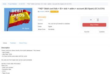 El perfil que usaba MrBank en la red Tor para vender las numeraciones de las tarjetas robadas.