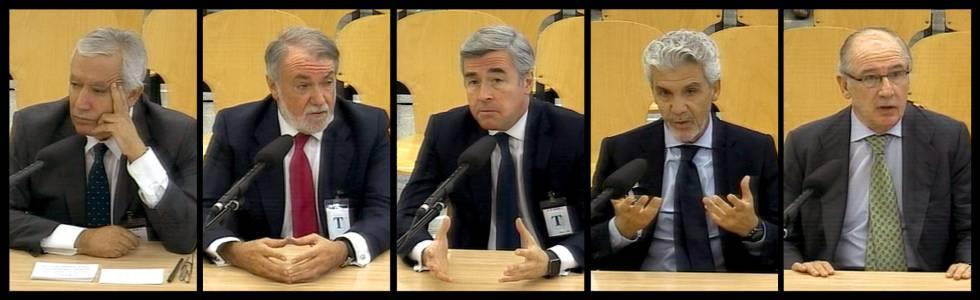 Javier Arenas, Jaime Mayor Oreja, Ángel Acebes, Gerardo Galeote y Rodrigo Rato durante su declaración como testigos en el juicio de la trama Gürtel.