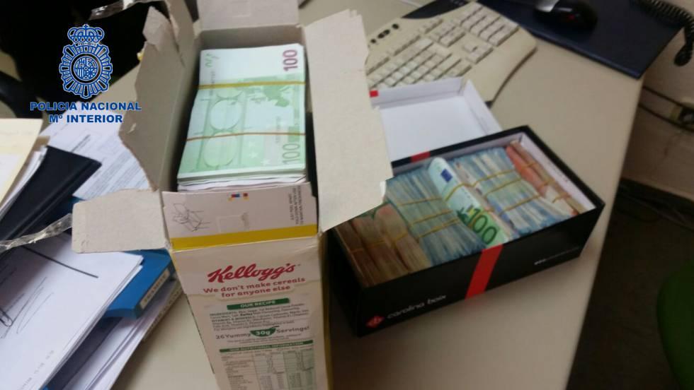 Una de las cajas de cereales utilizada para guardar el dinero antes de enviarlo al cartel de Colombia.