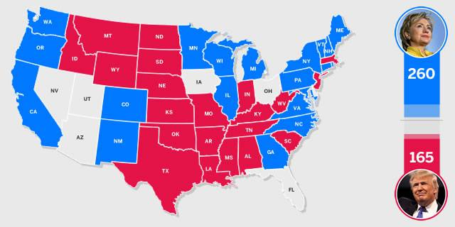 Mapa interactivo del Colegio Electoral de Estados Unidos