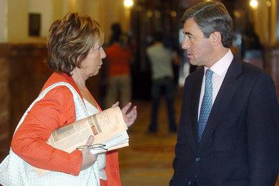 Celia Villalobos, ex ministra del PP, habla con el secretario general de su partido, Ángel Acebes, antes de la votación.