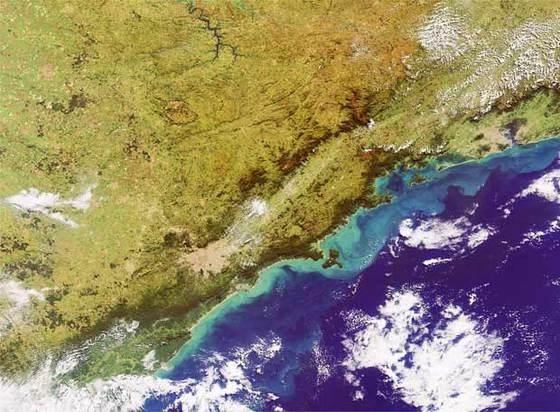 Vista aérea del sureste de Brasil; la ciudad de Sao Paulo es la mancha beige rodeada de verde en la imagen
