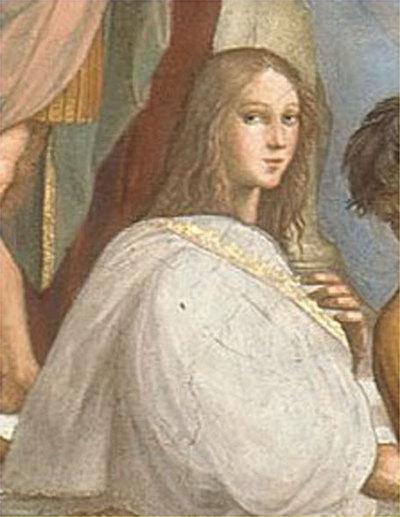 Detalle del retrato de Hypatia de Alejandría realizado por Rafael Sanzio.