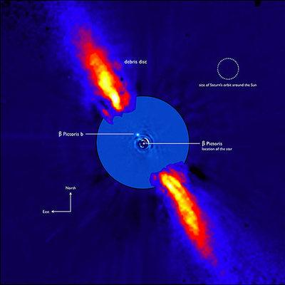 Foto compuesta por distintas imágenes tomadas con varios telescopios de ESO, el Observatorio Europeo Austral en la que puede verse la presencia de un planeta alrededor de la estrella Beta Pictoris.