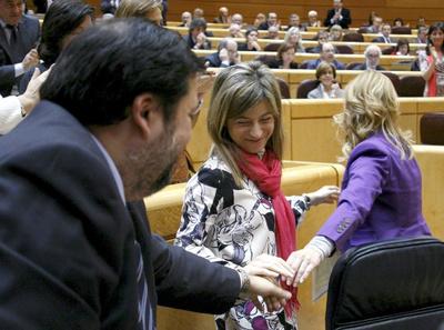 El ministro de Trabajo, Francisco Caamaño, la ministra de Igualdad, Bibiana Aído, y la senadora Leire Pajín juntan sus manos hoy en el Senado durante la tramitación de la ley del aborto en esta Cámara.